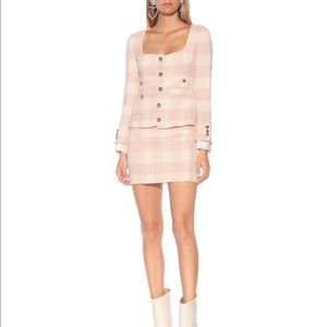 $1650 Alessandra Rich Pink Checked Tweed Jacket